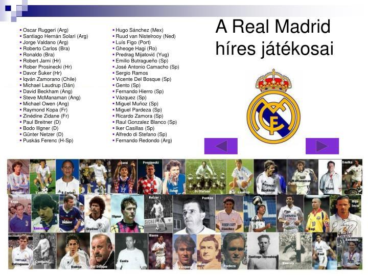 A Real Madrid híres játékosai