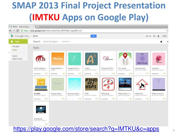 SMAP 2013 Final Project Presentation