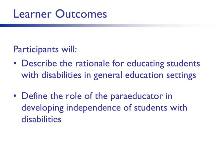 Learner Outcomes