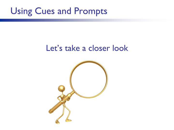 Using Cues and Prompts