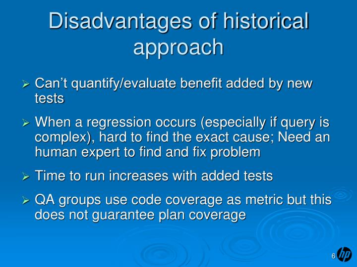 Disadvantages of historical approach