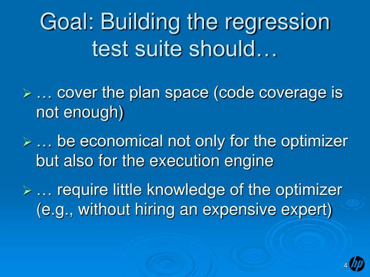 Goal: Building the regression test suite should…