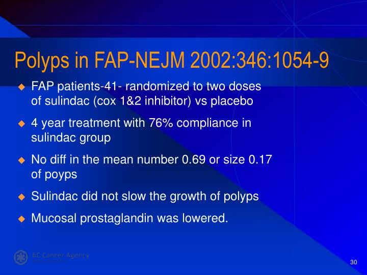 Polyps in FAP-NEJM 2002:346:1054-9