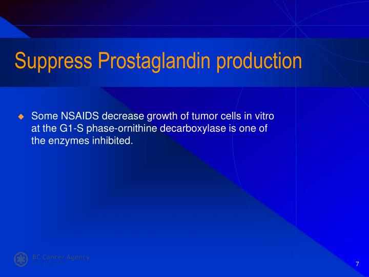 Suppress Prostaglandin production
