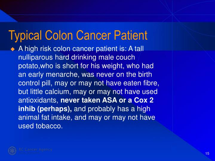 Typical Colon Cancer Patient