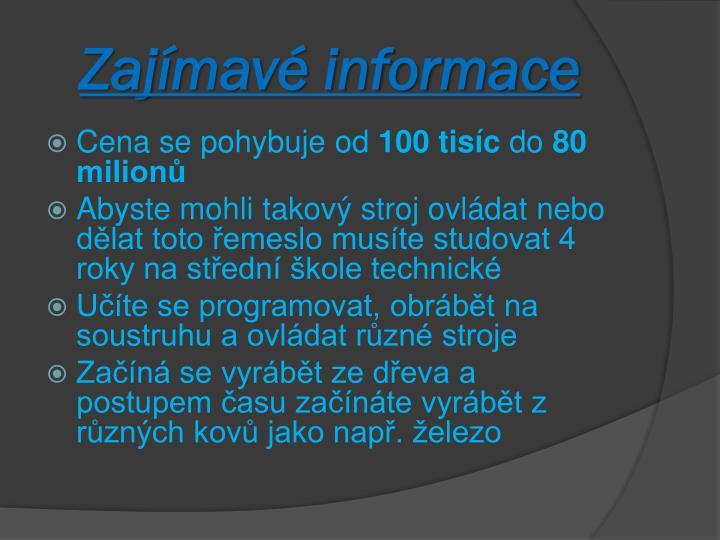 Zajímavé informace