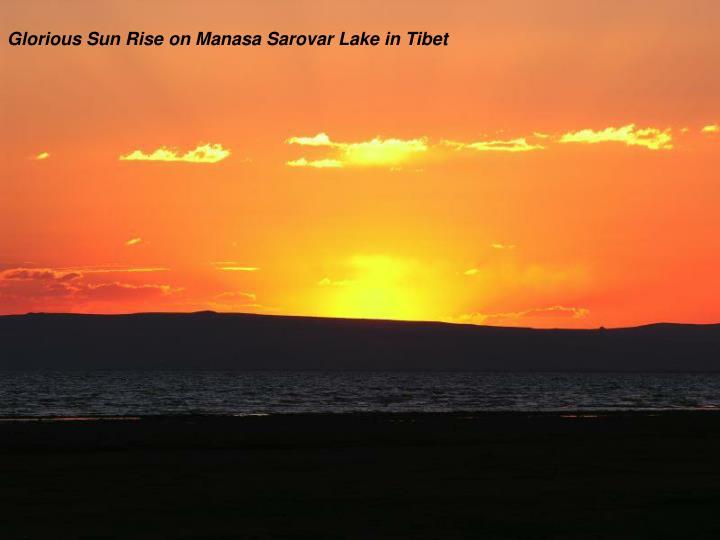 Glorious Sun Rise on Manasa Sarovar Lake in Tibet