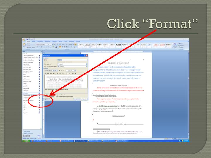 """Click """"Format"""""""