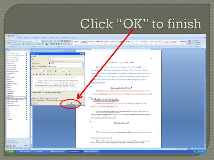 """Click """"OK"""" to finish"""