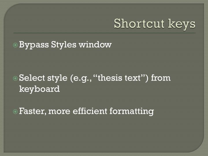 Shortcut keys