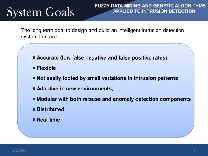 FUZZY DATA MINING AND GENETIC ALGORITHMS             	APPLIED TO INTRUSION DETECTION