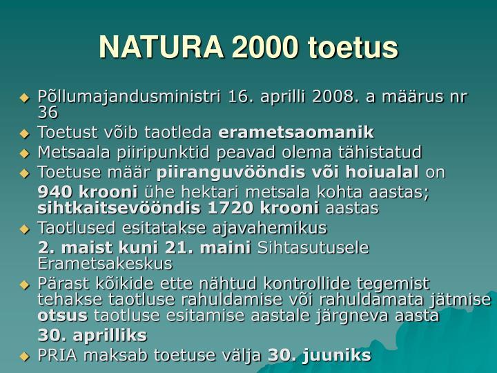 NATURA 2000 toetus