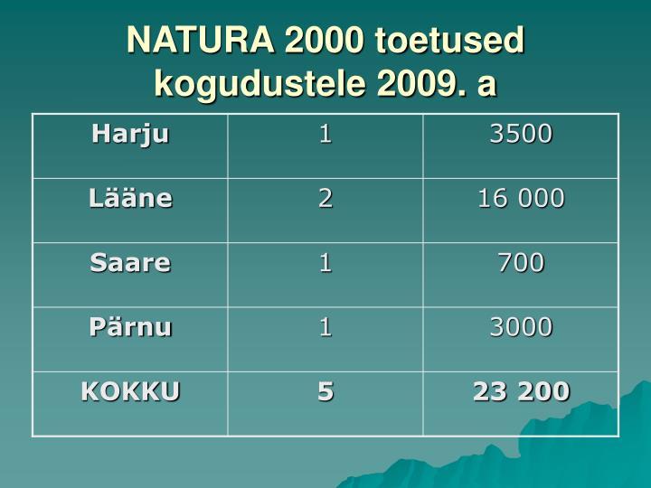 NATURA 2000 toetused kogudustele 2009. a