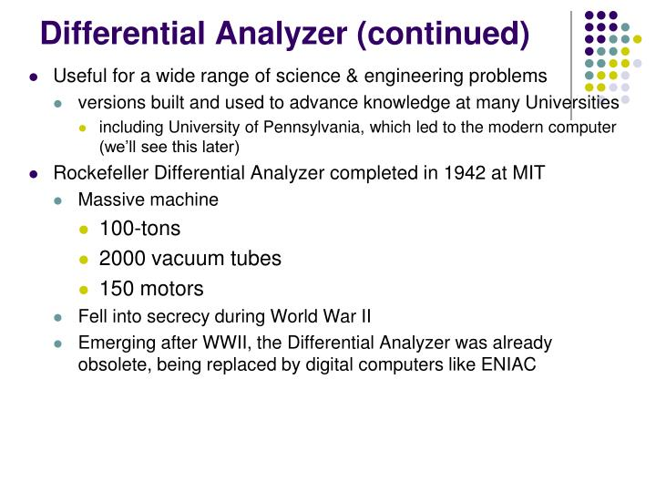 Differential Analyzer (continued)