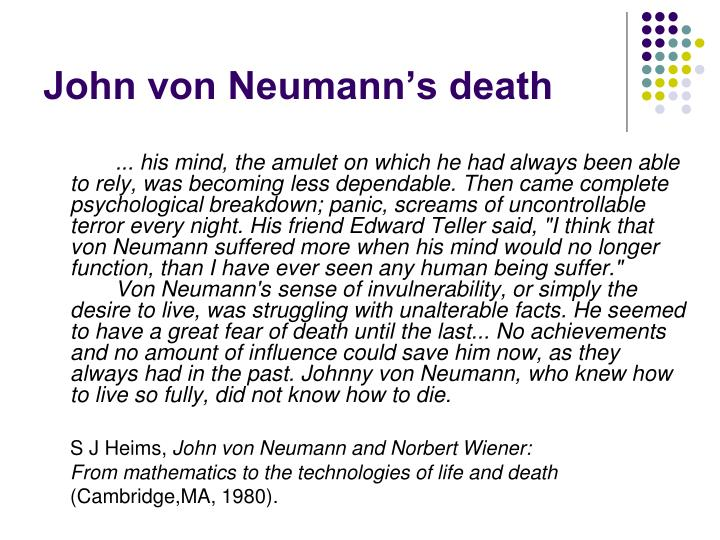 John von Neumann's death