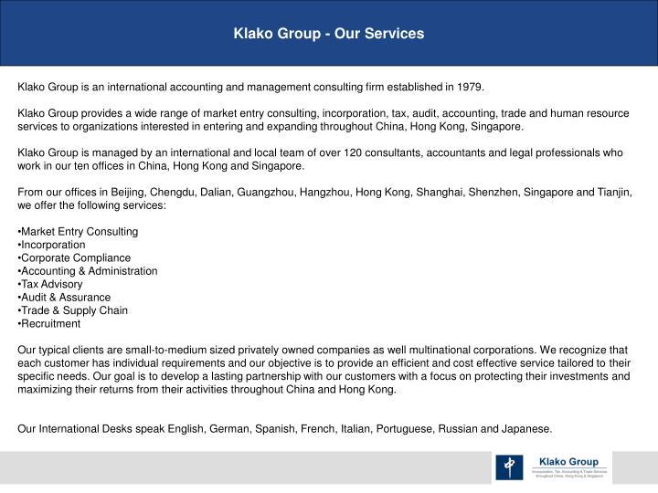 Klako Group - Our Services