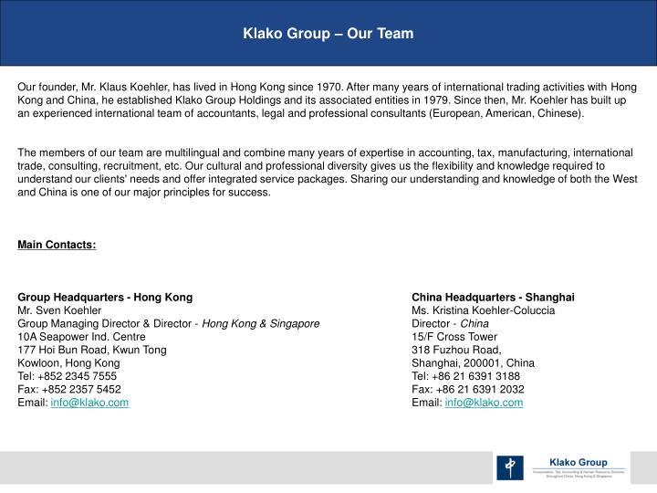 Klako Group – Our Team