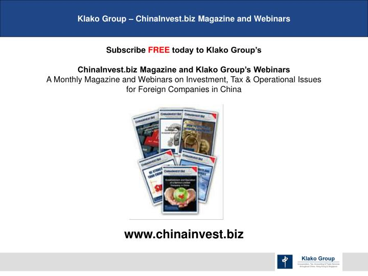 Klako Group – ChinaInvest.biz Magazine and Webinars