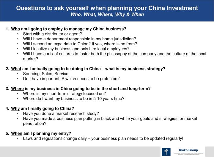 Questions to ask yourself when planning your China Investment