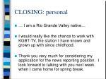 closing personal