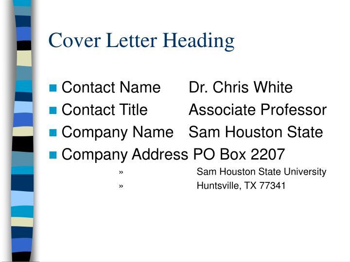 Cover Letter Heading