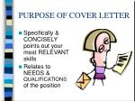 purpose of cover letter