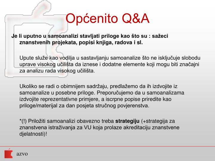 Općenito Q&A