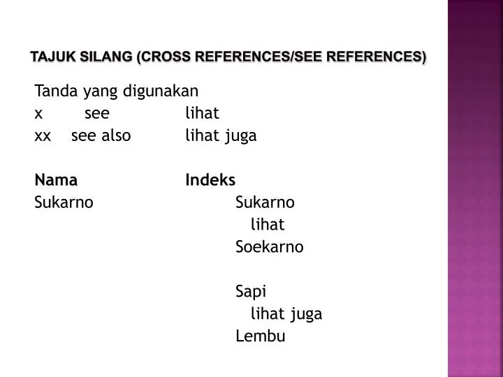 TAJUK SILANG (CROSS REFERENCES/SEE REFERENCES)