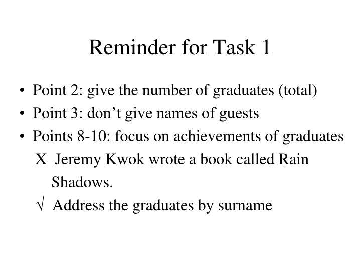 Reminder for Task 1