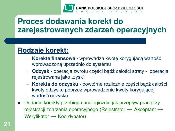 Proces dodawania korekt do zarejestrowanych zdarzeń operacyjnych
