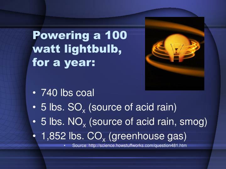 Powering a 100 watt lightbulb, for a year:
