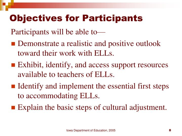 Objectives for Participants