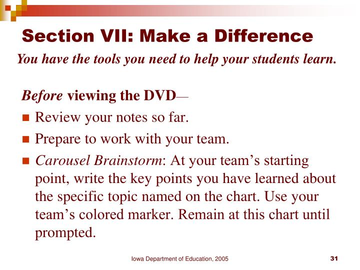Section VII: Make a Difference