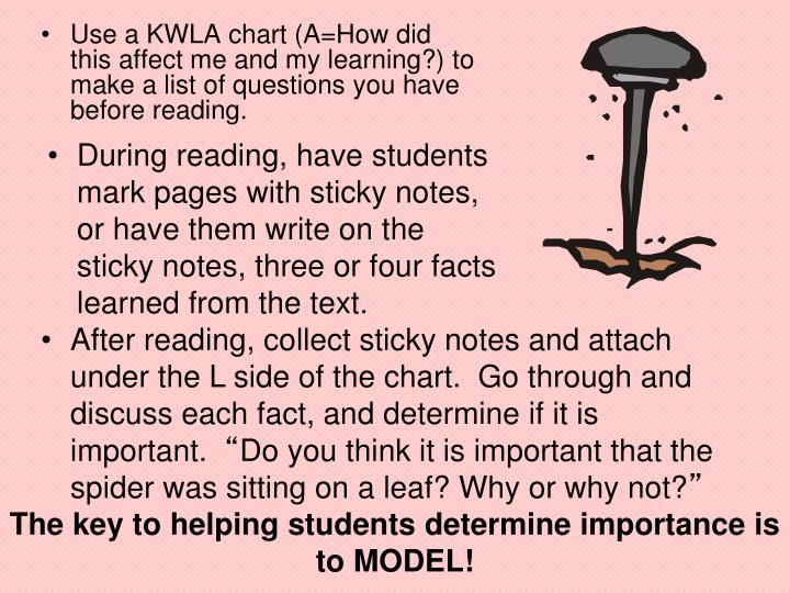 During reading, have students mark pages with sticky notes, or have them write on the sticky notes, three or four facts learned from the text.