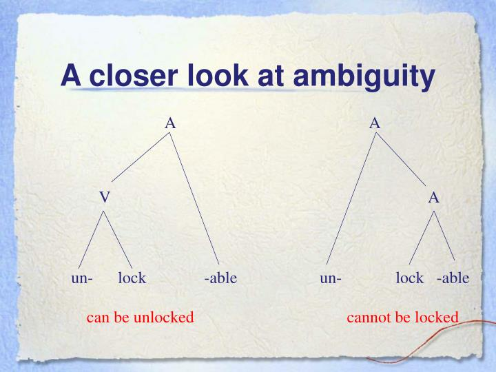 A closer look at ambiguity