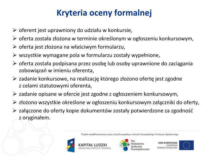 Kryteria oceny formalnej