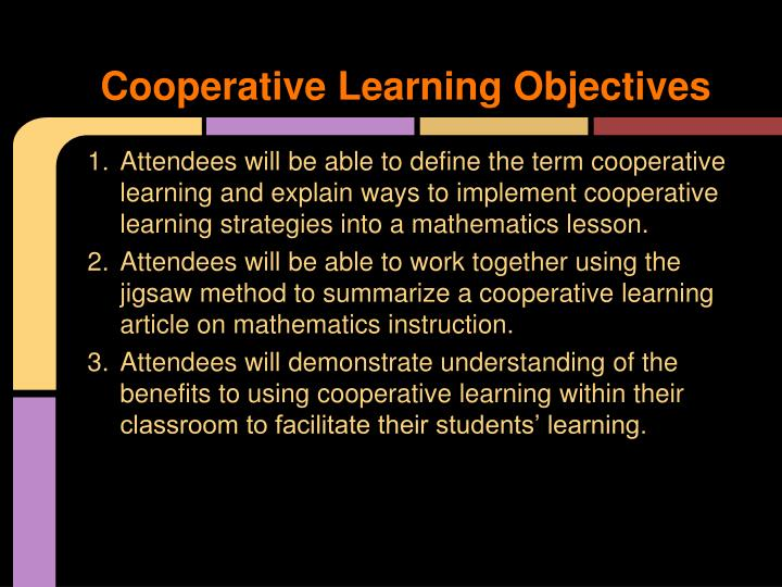 Cooperative Learning Objectives
