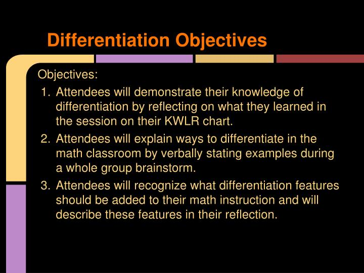 Differentiation Objectives
