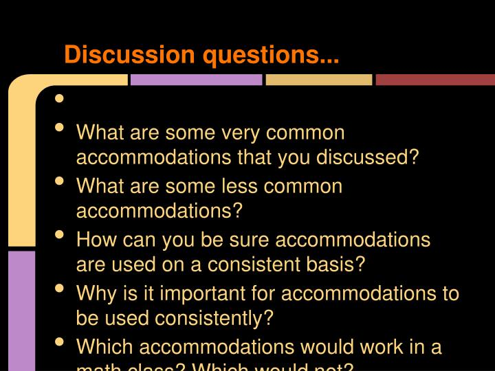 Discussion questions...