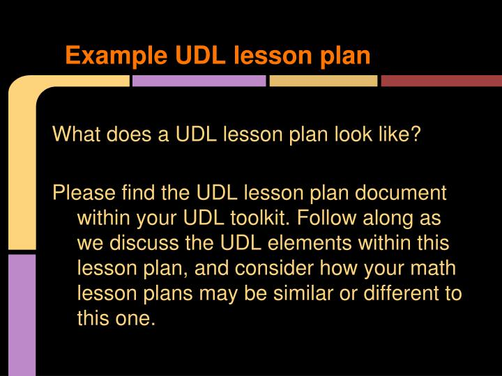 Example UDL lesson plan