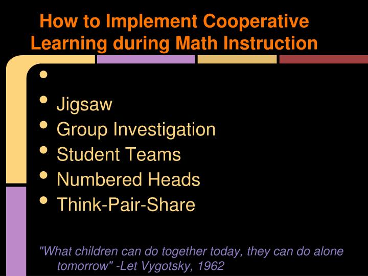 How to Implement Cooperative Learning during Math Instruction
