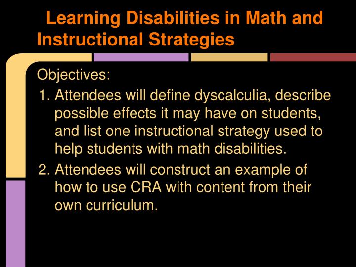 Learning Disabilities in Math and Instructional Strategies