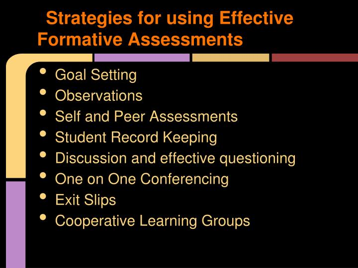 Strategies for using Effective Formative Assessments