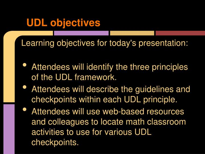 UDL objectives