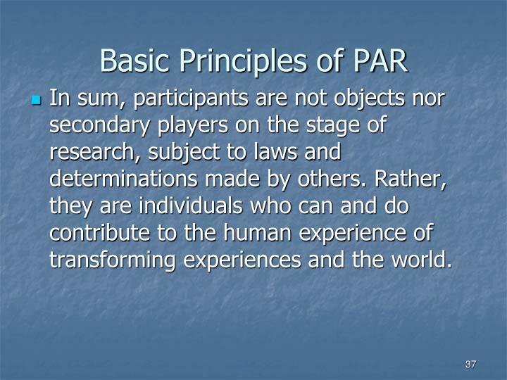 Basic Principles of PAR