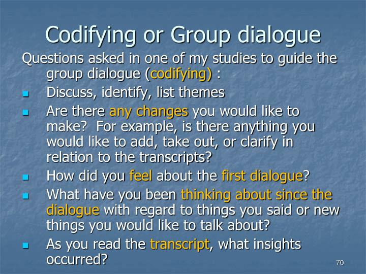 Codifying or Group dialogue