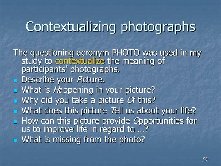 Contextualizing photographs