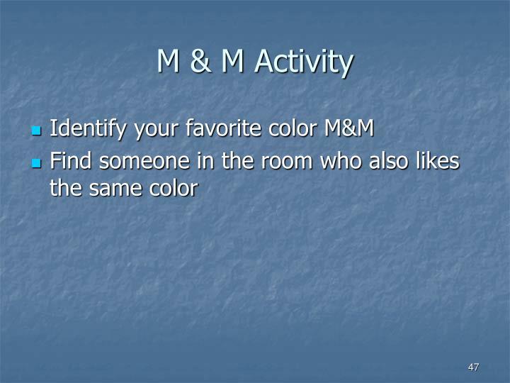 M & M Activity