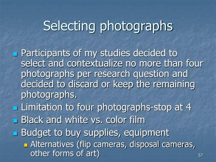 Selecting photographs