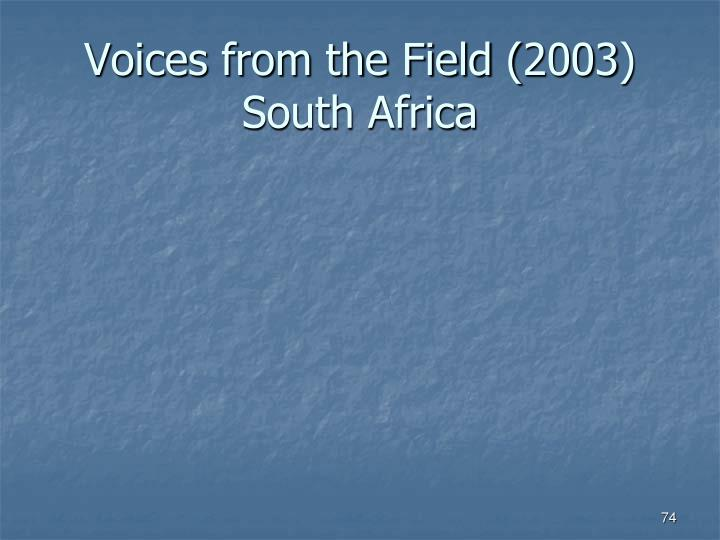 Voices from the Field (2003)